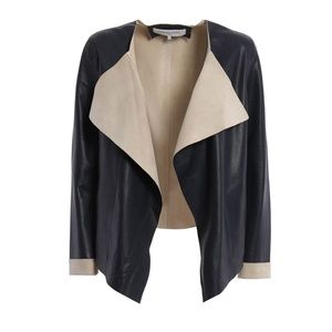 Gerard Darel  Cloud leather navy blue jacket new